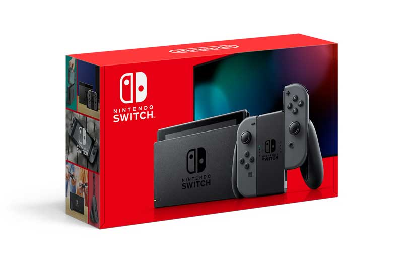 Nintendo Switch console with a pair of grey Joy-Con